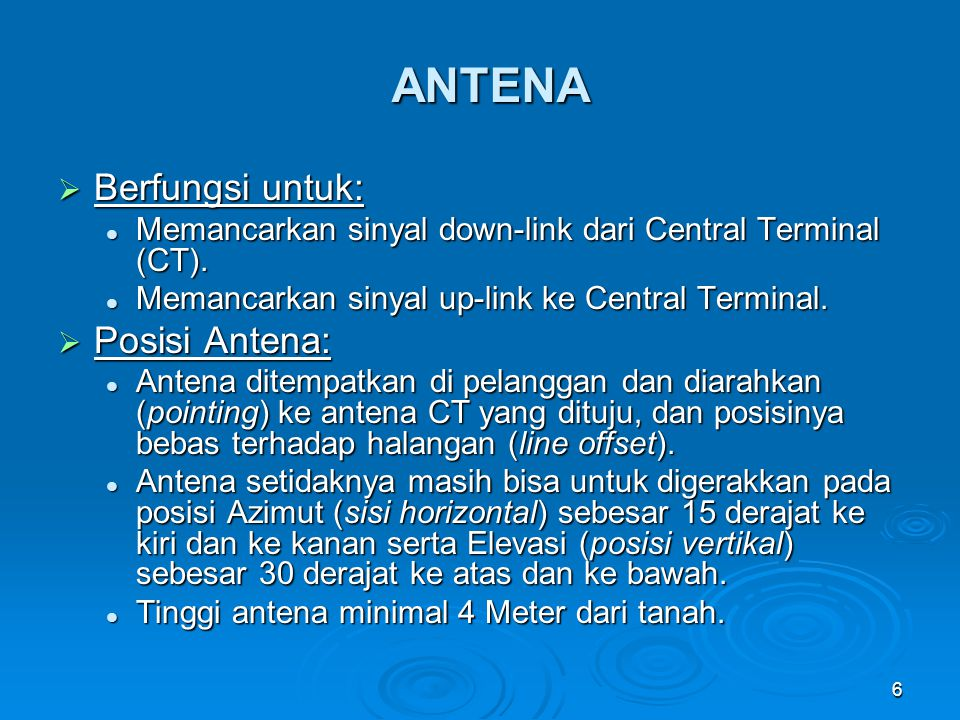 ANTENA Berfungsi untuk: Posisi Antena: