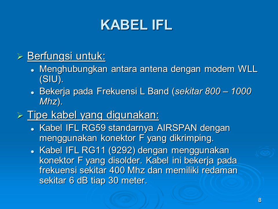 KABEL IFL Berfungsi untuk: Tipe kabel yang digunakan: