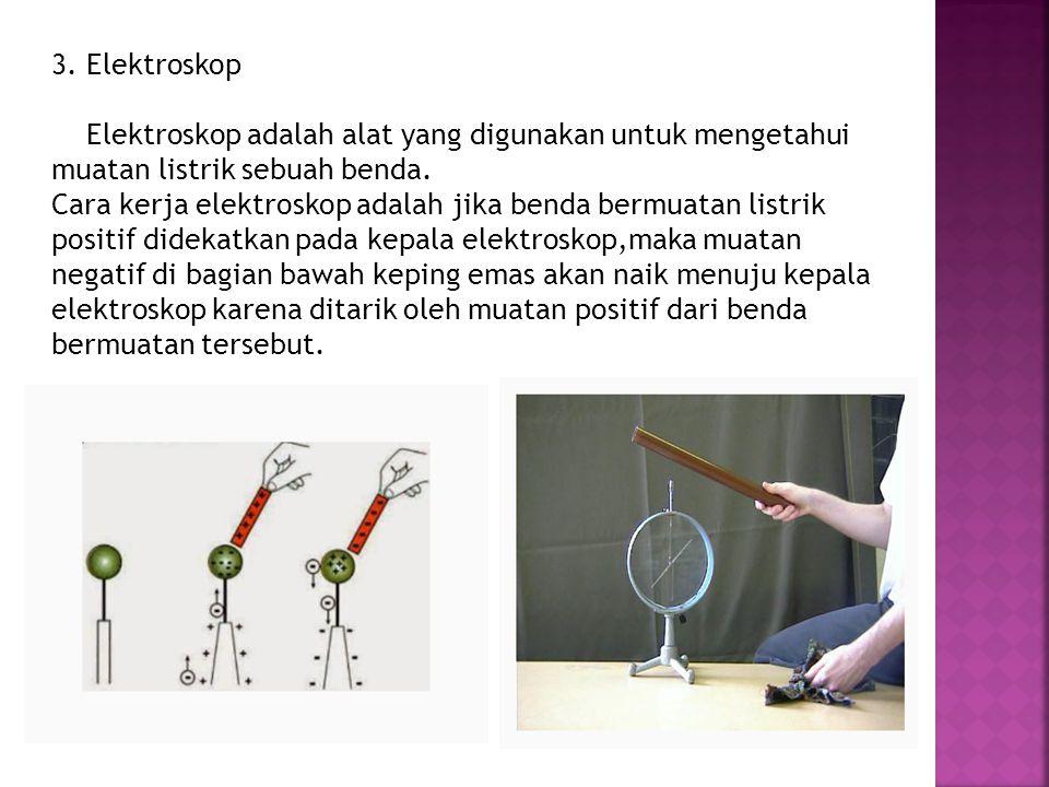 3. Elektroskop Elektroskop adalah alat yang digunakan untuk mengetahui muatan listrik sebuah benda.