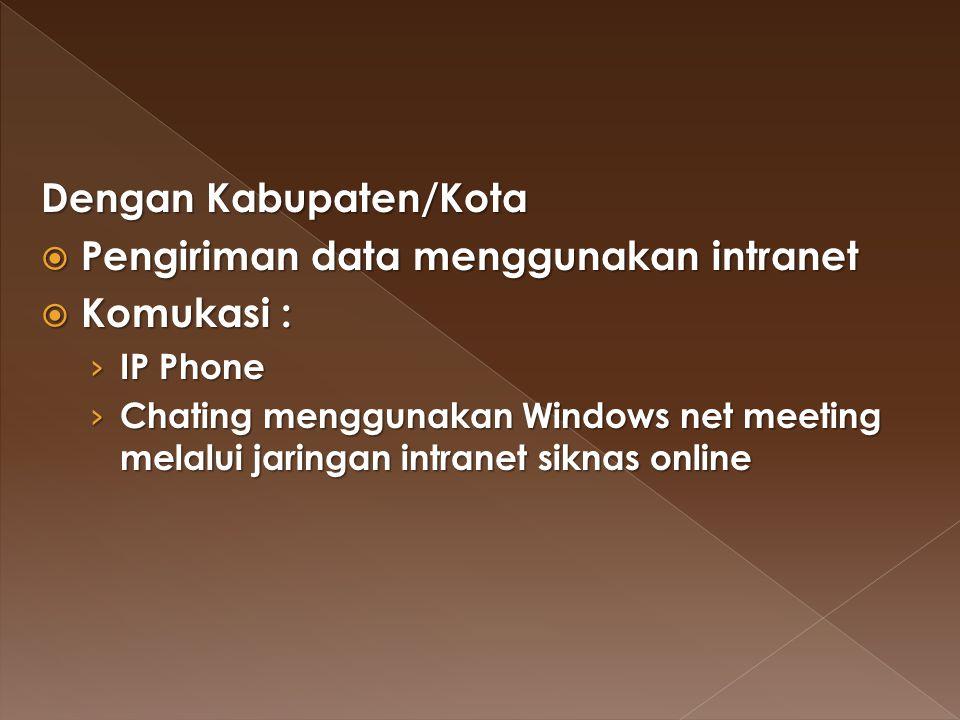 Dengan Kabupaten/Kota Pengiriman data menggunakan intranet Komukasi :