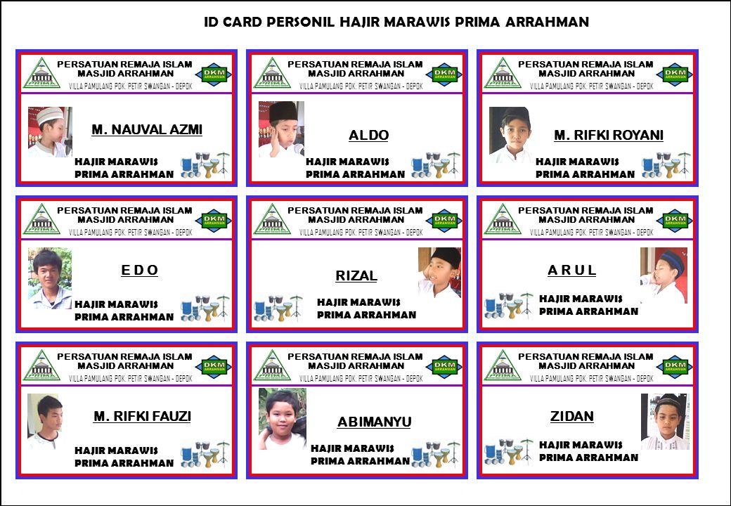 ID CARD PERSONIL HAJIR MARAWIS PRIMA ARRAHMAN
