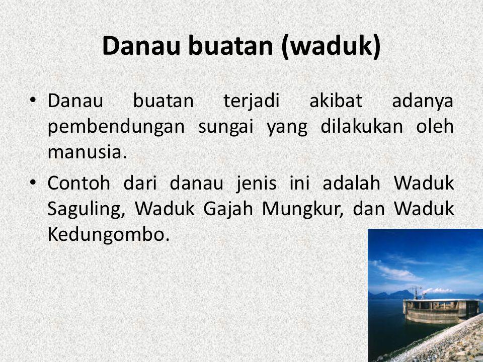 Danau buatan (waduk) Danau buatan terjadi akibat adanya pembendungan sungai yang dilakukan oleh manusia.