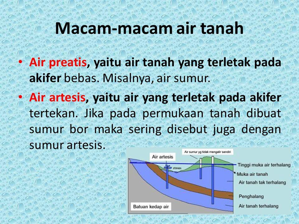 Macam-macam air tanah Air preatis, yaitu air tanah yang terletak pada akifer bebas. Misalnya, air sumur.