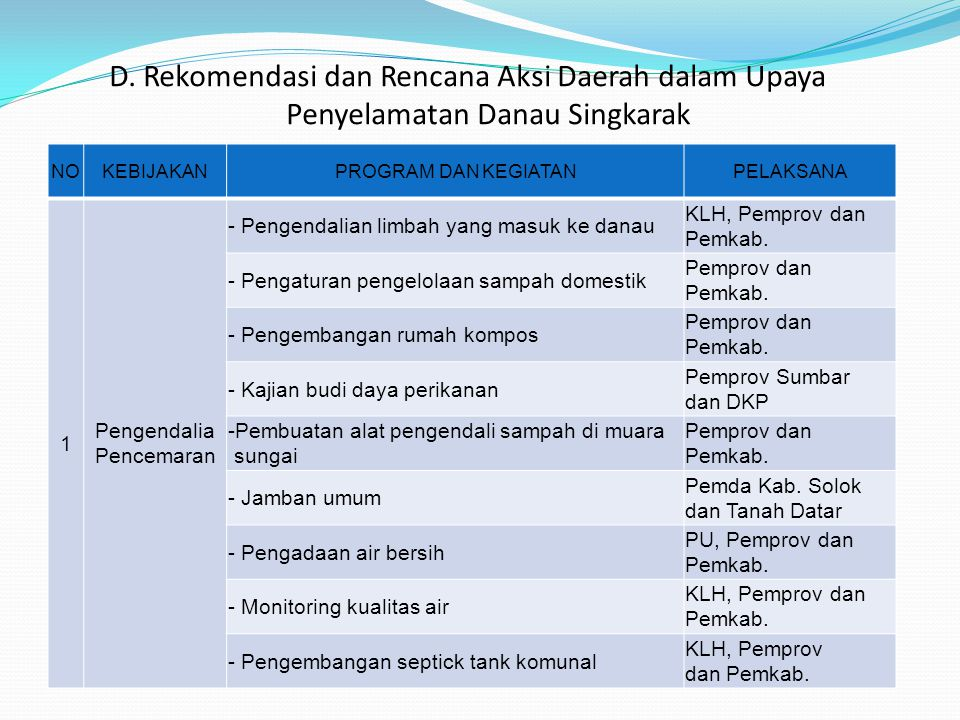 D. Rekomendasi dan Rencana Aksi Daerah dalam Upaya Penyelamatan Danau Singkarak