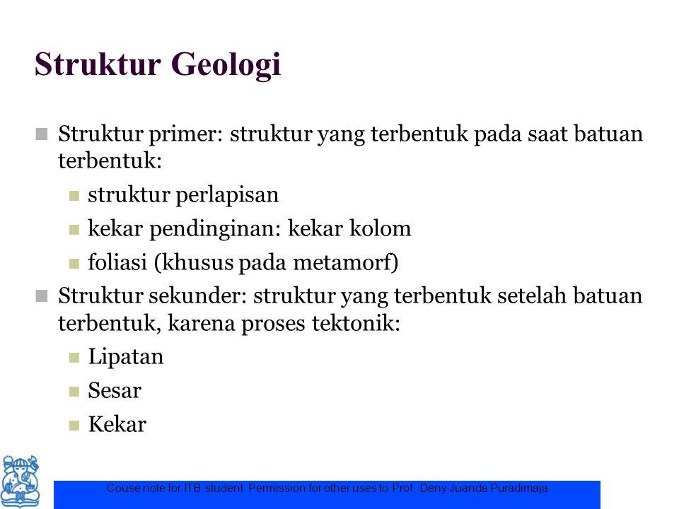 Struktur Geologi Struktur primer: struktur yang terbentuk pada saat batuan terbentuk: struktur perlapisan.