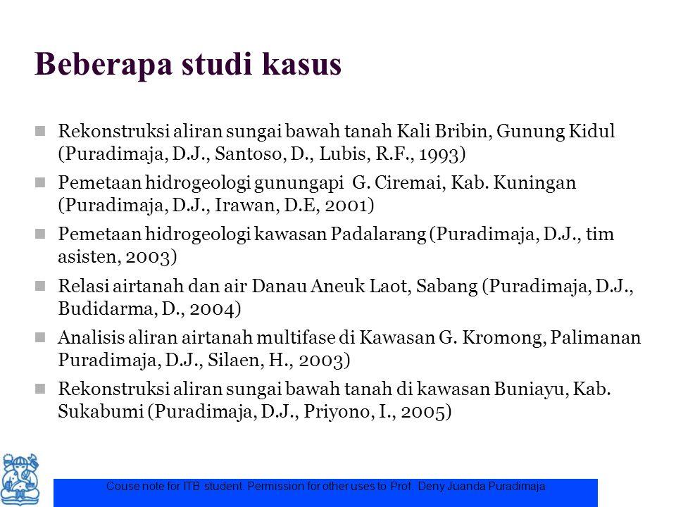 Beberapa studi kasus Rekonstruksi aliran sungai bawah tanah Kali Bribin, Gunung Kidul (Puradimaja, D.J., Santoso, D., Lubis, R.F., 1993)