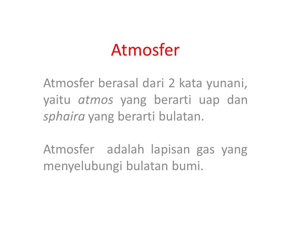 Atmosfer Atmosfer berasal dari 2 kata yunani, yaitu atmos yang berarti uap dan sphaira yang berarti bulatan.