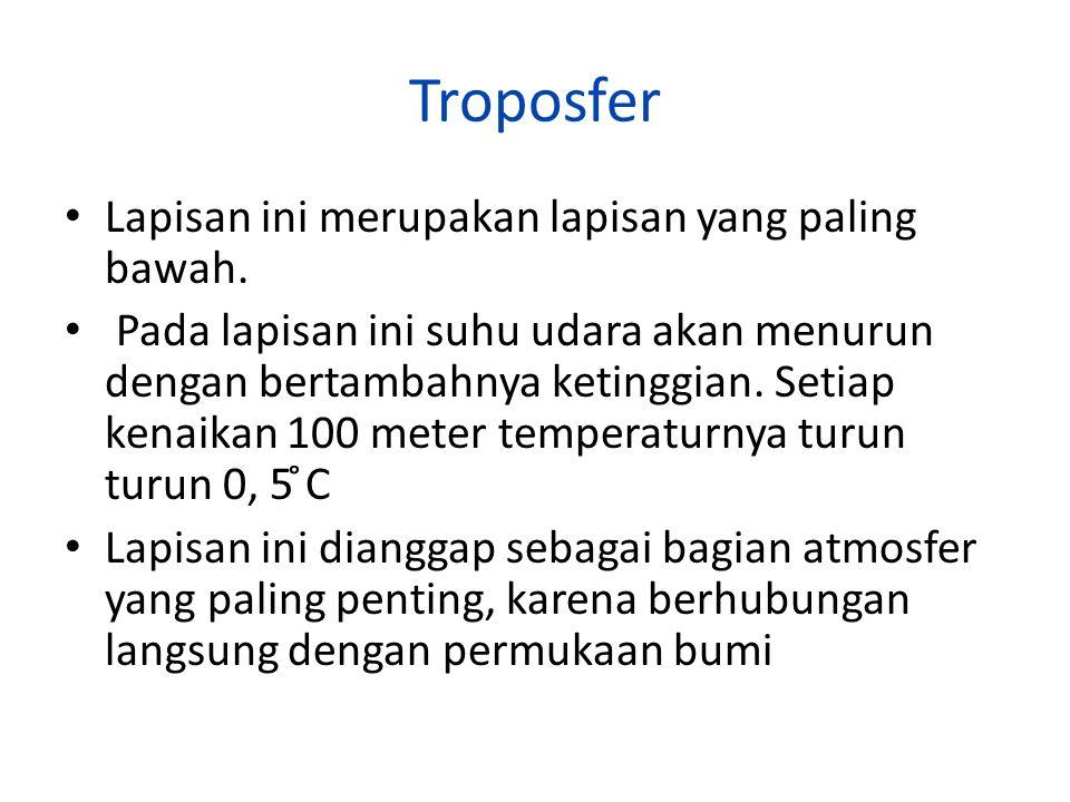 Troposfer Lapisan ini merupakan lapisan yang paling bawah.