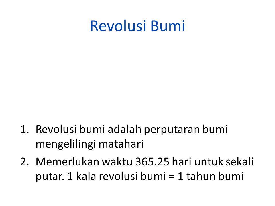 Revolusi Bumi Revolusi bumi adalah perputaran bumi mengelilingi matahari.