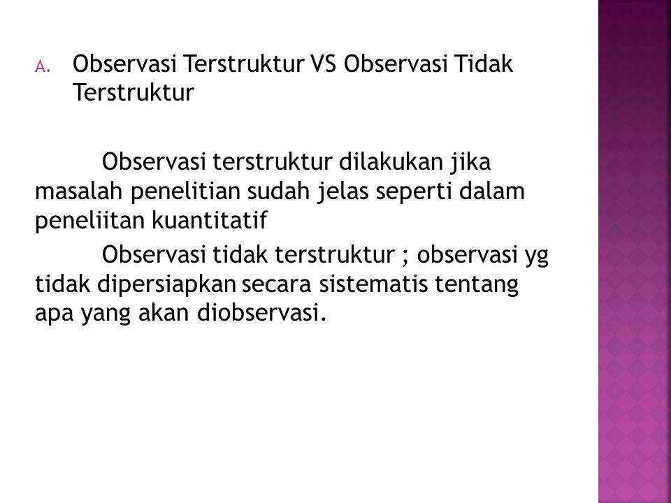 Observasi Terstruktur VS Observasi Tidak Terstruktur