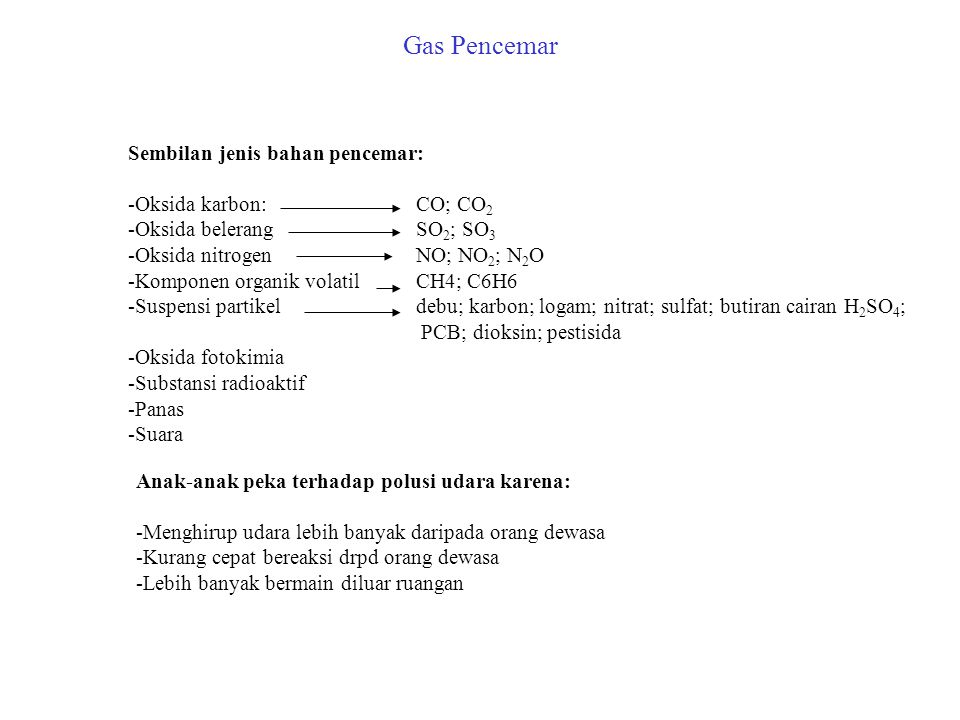 Gas Pencemar Sembilan jenis bahan pencemar: Oksida karbon: CO; CO2