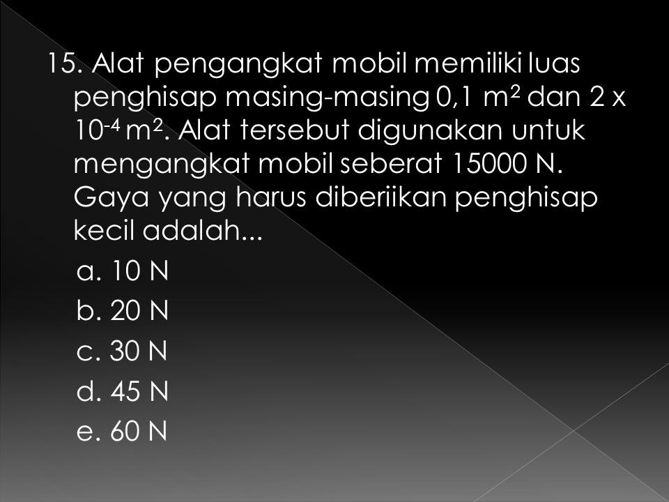 15. Alat pengangkat mobil memiliki luas penghisap masing-masing 0,1 m2 dan 2 x 10-4 m2.