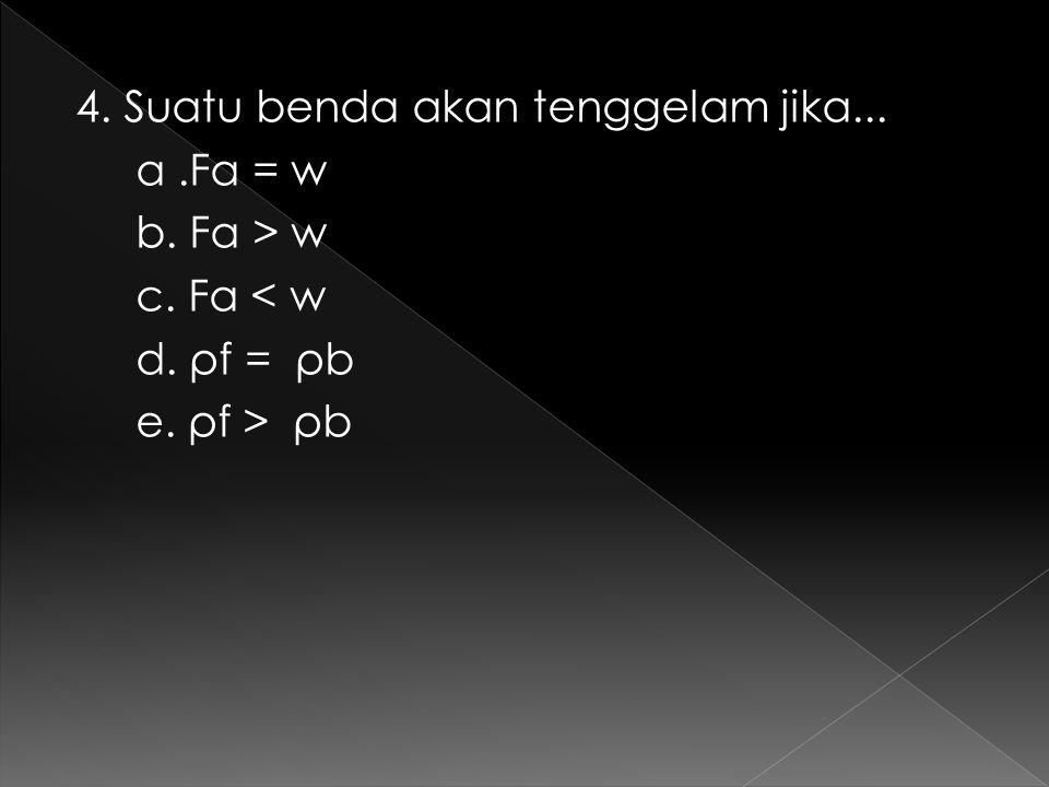 4. Suatu benda akan tenggelam jika. a. Fa = w b. Fa > w c