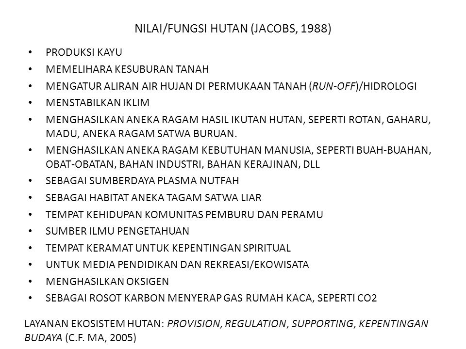 NILAI/FUNGSI HUTAN (JACOBS, 1988)
