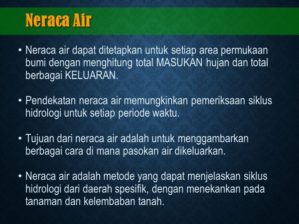 Neraca Air Neraca air dapat ditetapkan untuk setiap area permukaan bumi dengan menghitung total MASUKAN hujan dan total berbagai KELUARAN.