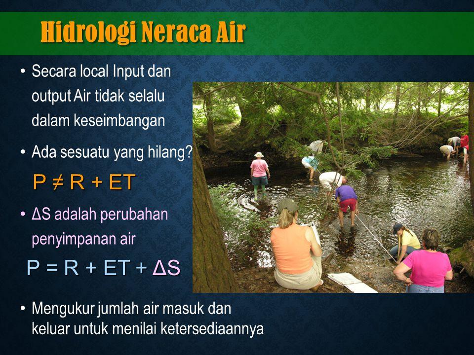 Hidrologi Neraca Air P ≠ R + ET P = R + ET + ΔS