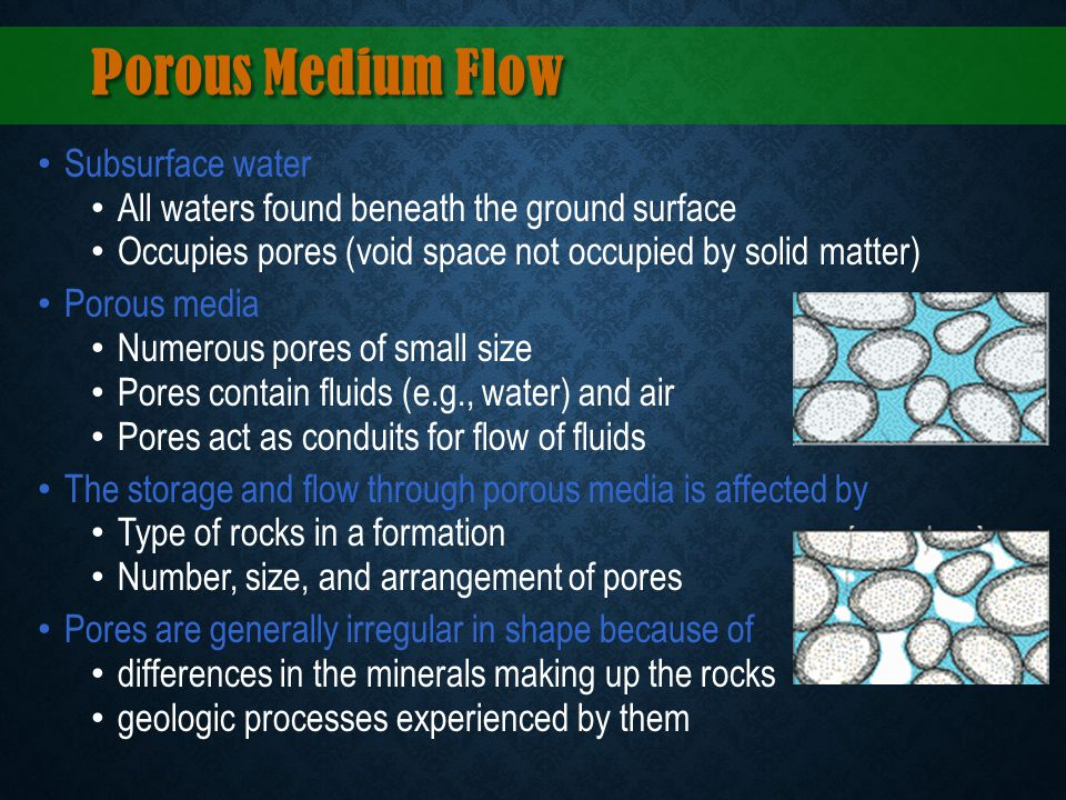 Porous Medium Flow Subsurface water