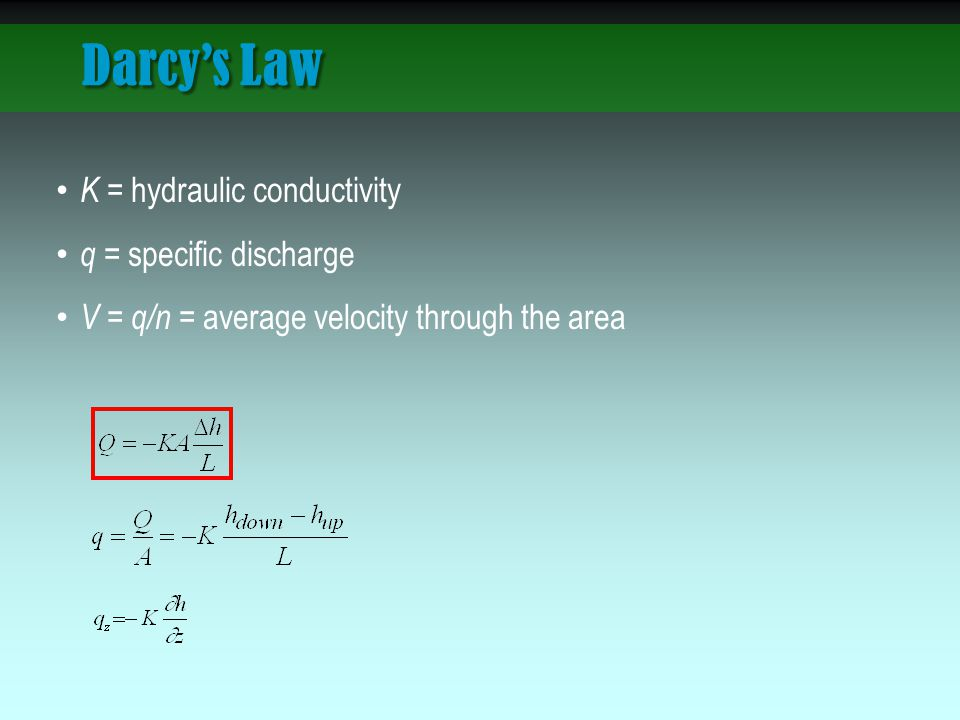 Darcy's Law K = hydraulic conductivity q = specific discharge