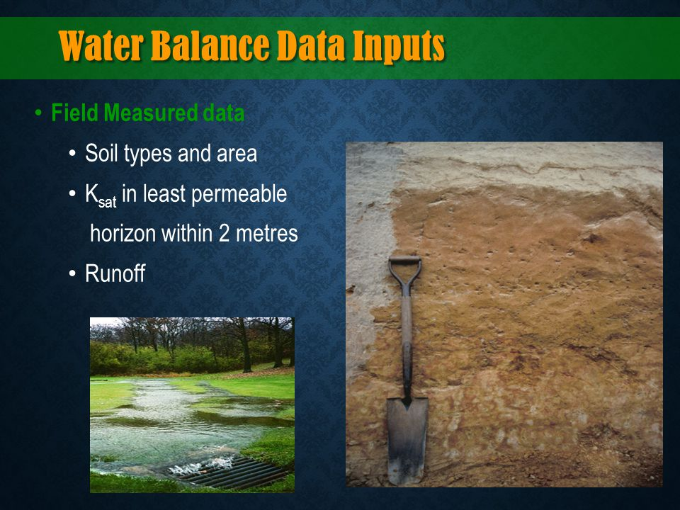 Water Balance Data Inputs