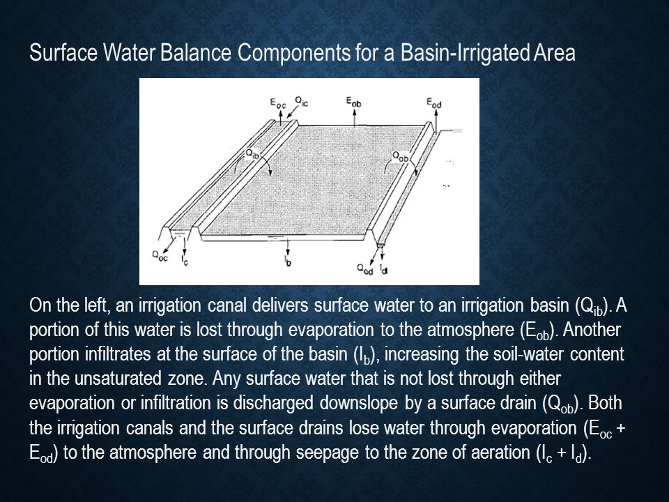 Surface Water Balance Components for a Basin-Irrigated Area