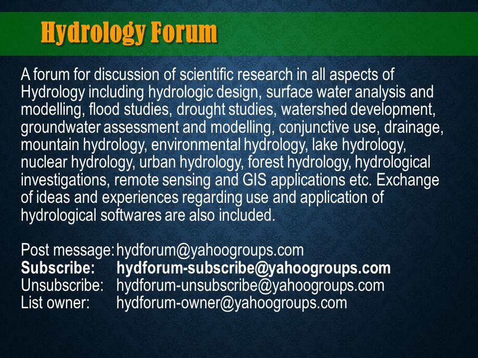 Hydrology Forum