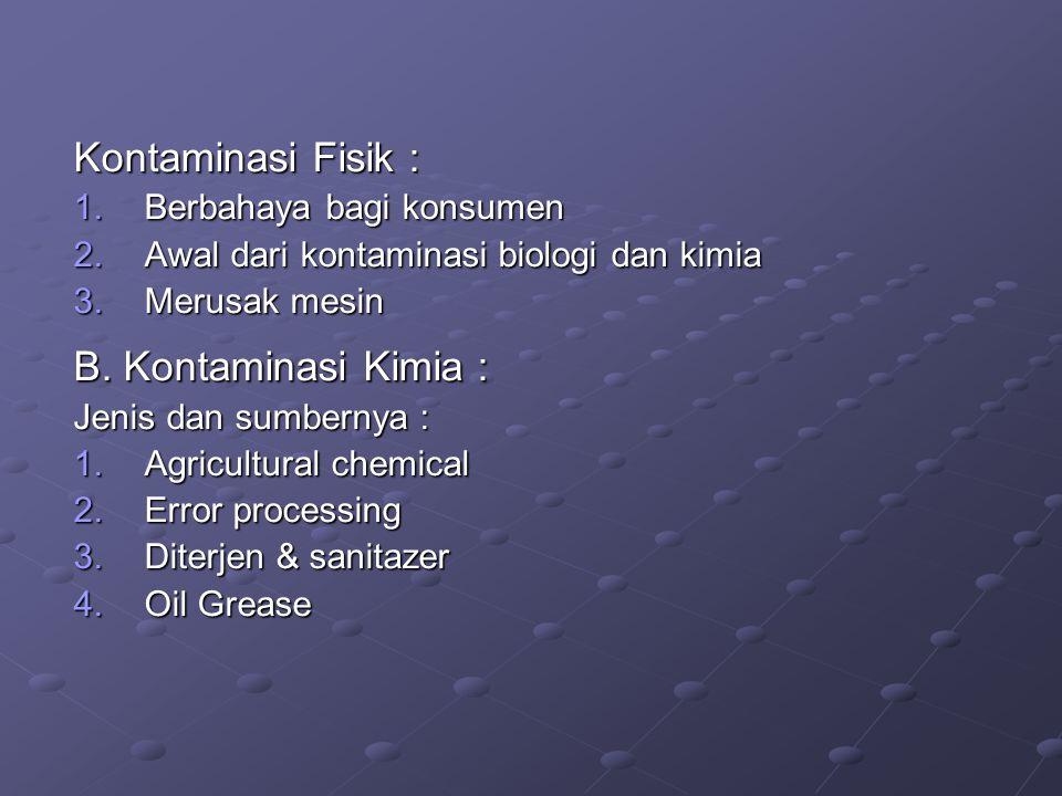 Kontaminasi Fisik : B. Kontaminasi Kimia : Berbahaya bagi konsumen