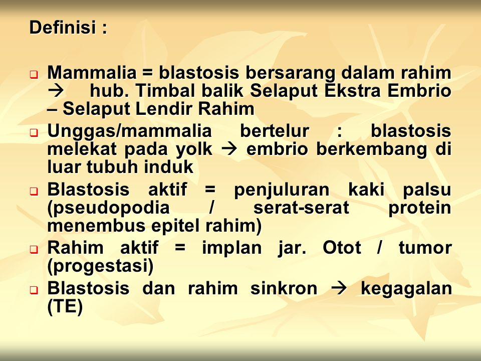 Definisi : Mammalia = blastosis bersarang dalam rahim  hub. Timbal balik Selaput Ekstra Embrio – Selaput Lendir Rahim.