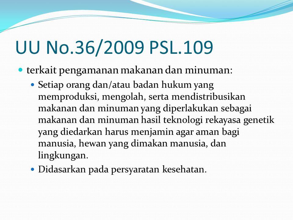 UU No.36/2009 PSL.109 terkait pengamanan makanan dan minuman: