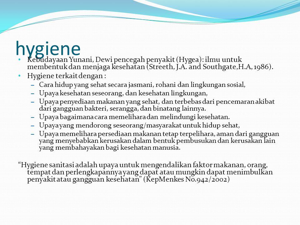 hygiene Kebudayaan Yunani, Dewi pencegah penyakit (Hygea): ilmu untuk membentuk dan menjaga kesehatan (Streeth, J.A. and Southgate,H.A, 1986).