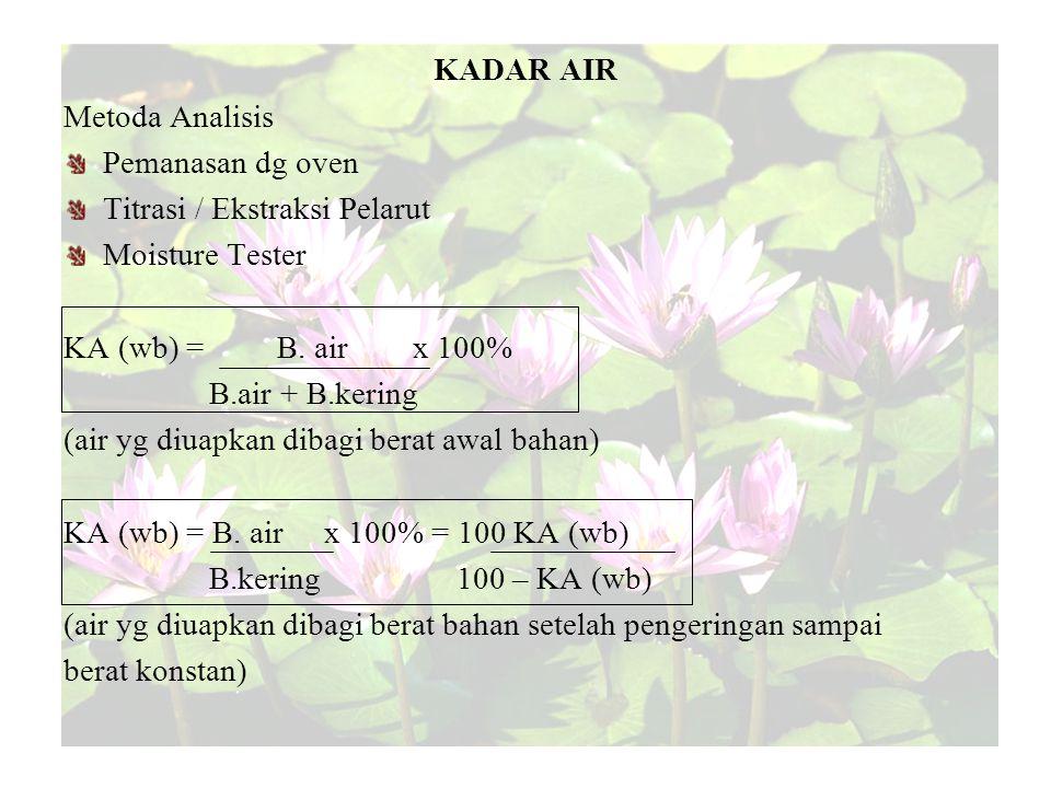 KADAR AIR Metoda Analisis. Pemanasan dg oven. Titrasi / Ekstraksi Pelarut. Moisture Tester. KA (wb) = B. air x 100%