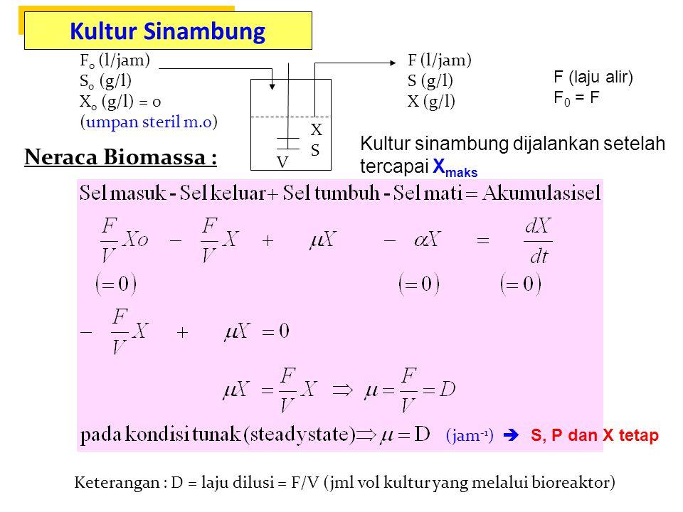Kultur Sinambung Kultur Sinambung Neraca Biomassa :