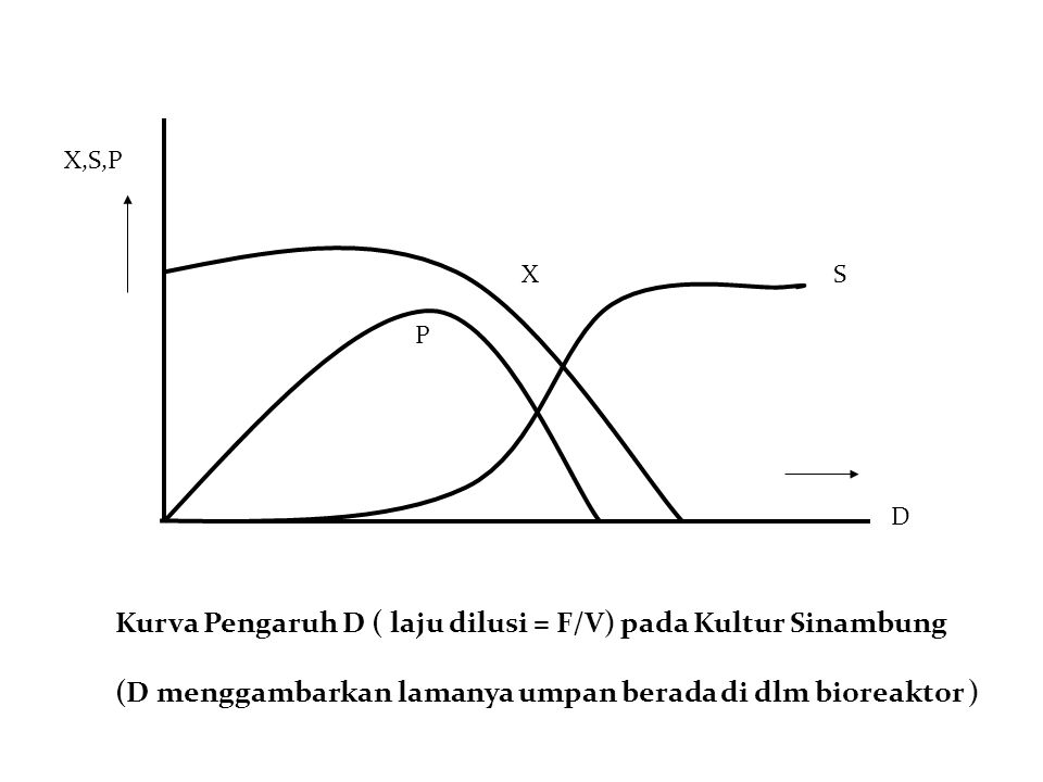 Kurva Pengaruh D ( laju dilusi = F/V) pada Kultur Sinambung