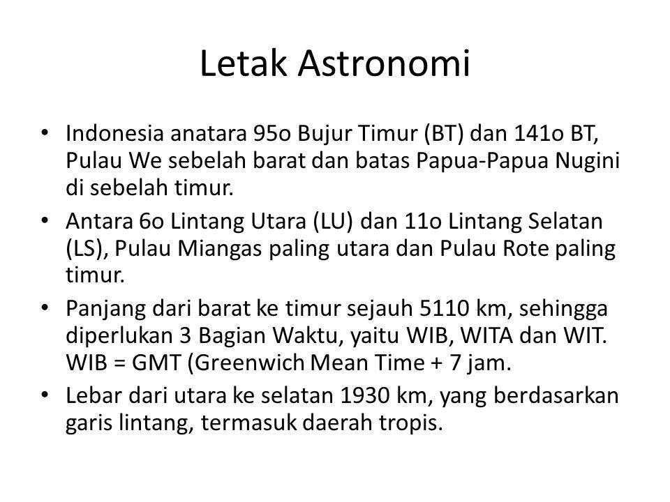Letak Astronomi Indonesia anatara 95o Bujur Timur (BT) dan 141o BT, Pulau We sebelah barat dan batas Papua-Papua Nugini di sebelah timur.