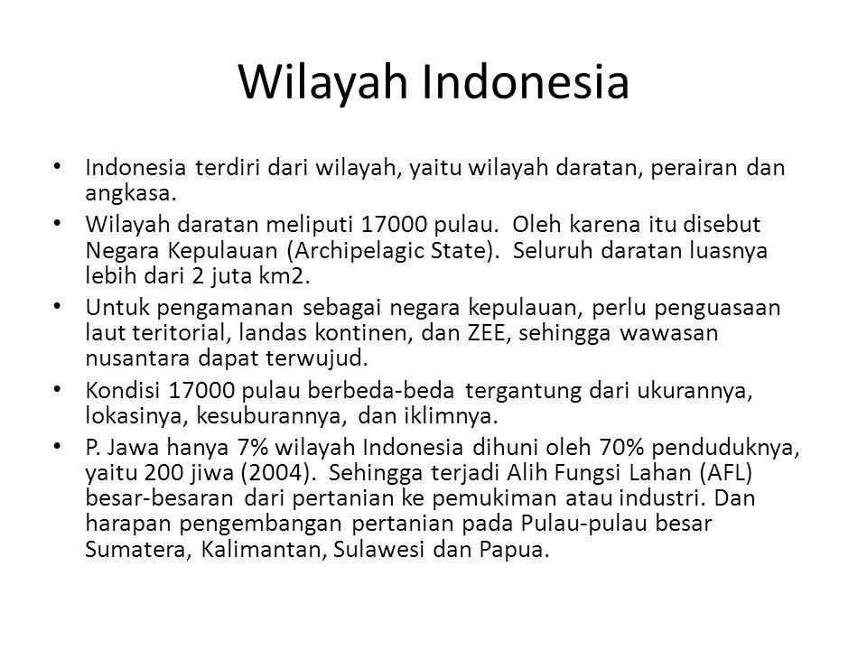Wilayah Indonesia Indonesia terdiri dari wilayah, yaitu wilayah daratan, perairan dan angkasa.