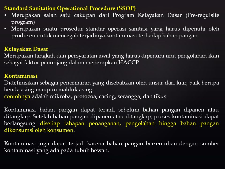 Standard Sanitation Operational Procedure (SSOP)