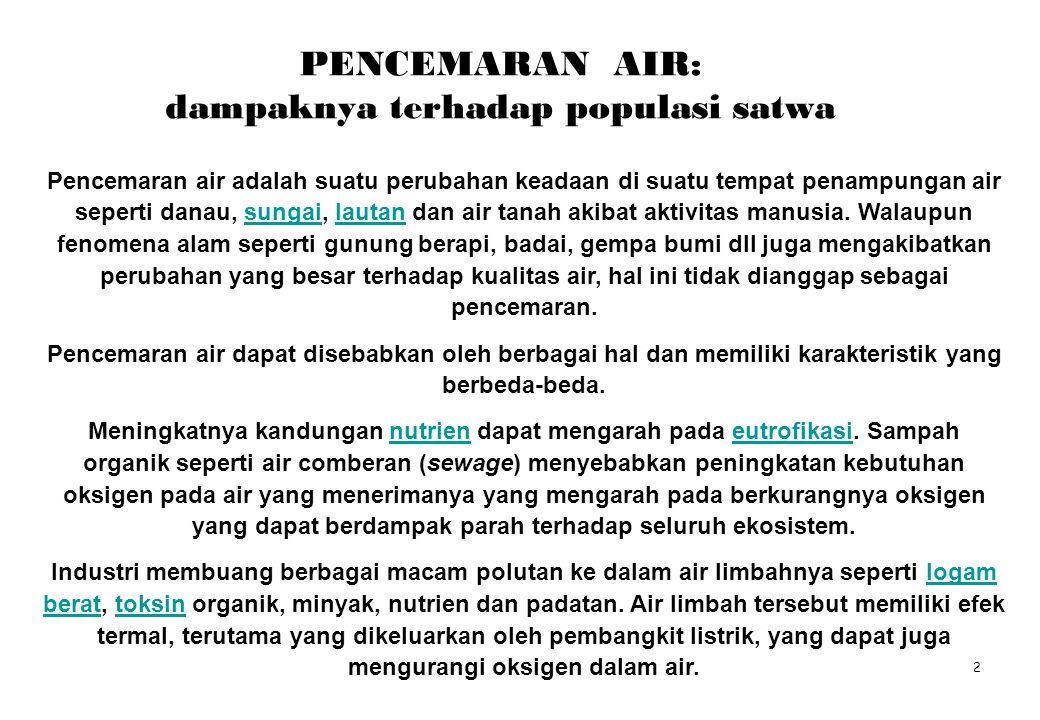 PENCEMARAN AIR: dampaknya terhadap populasi satwa