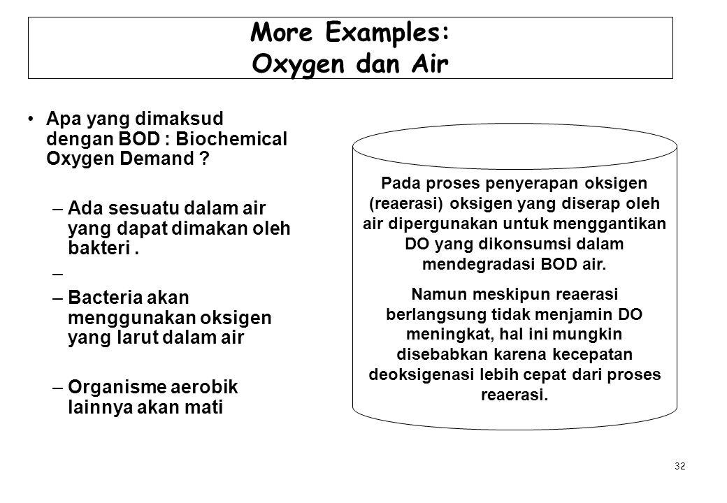 More Examples: Oxygen dan Air