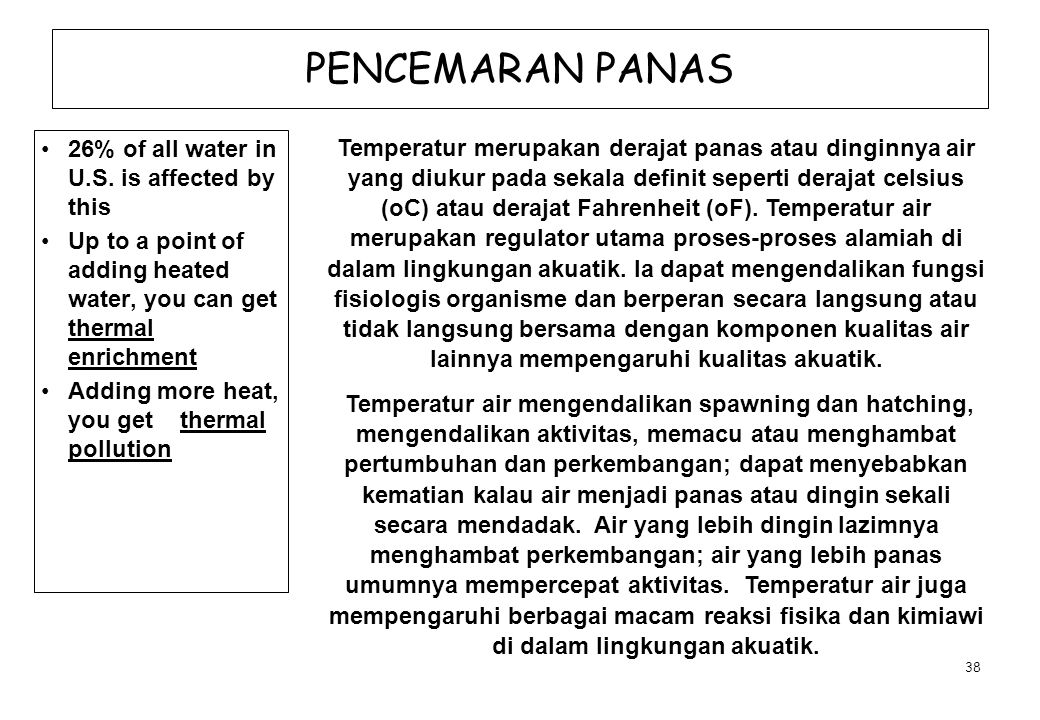 PENCEMARAN PANAS 26% of all water in U.S. is affected by this