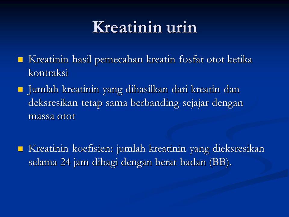 Kreatinin urin Kreatinin hasil pemecahan kreatin fosfat otot ketika kontraksi.