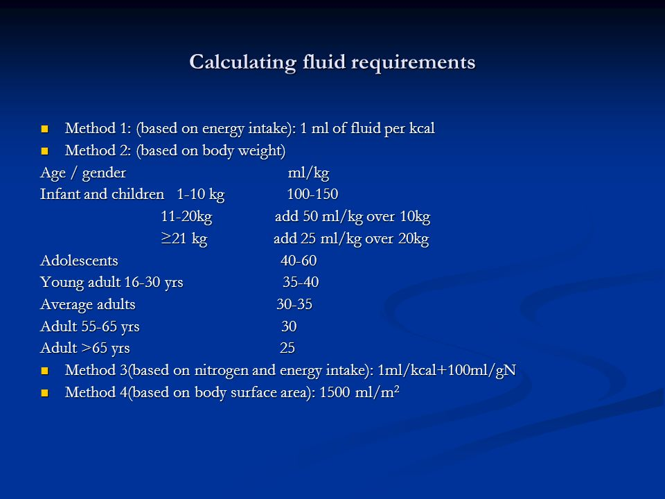 Calculating fluid requirements