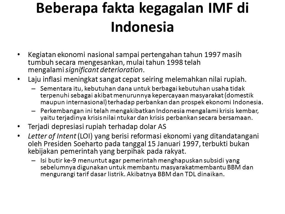 Beberapa fakta kegagalan IMF di Indonesia