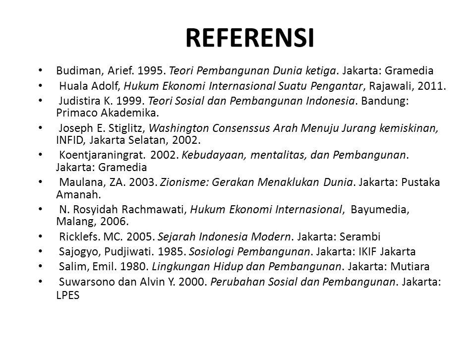 REFERENSI Budiman, Arief. 1995. Teori Pembangunan Dunia ketiga. Jakarta: Gramedia.