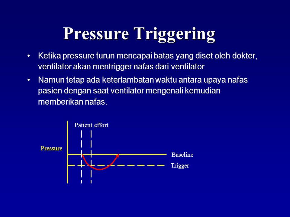 Pressure Triggering Ketika pressure turun mencapai batas yang diset oleh dokter, ventilator akan mentrigger nafas dari ventilator.