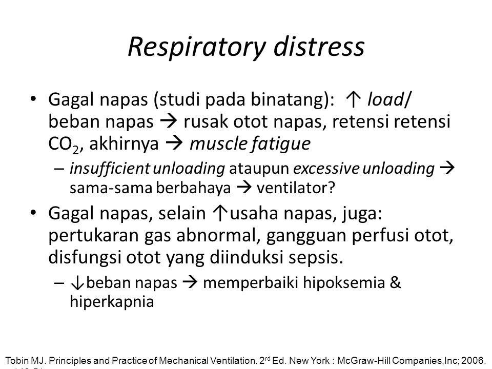 Respiratory distress Gagal napas (studi pada binatang): ↑ load/ beban napas  rusak otot napas, retensi retensi CO2, akhirnya  muscle fatigue.