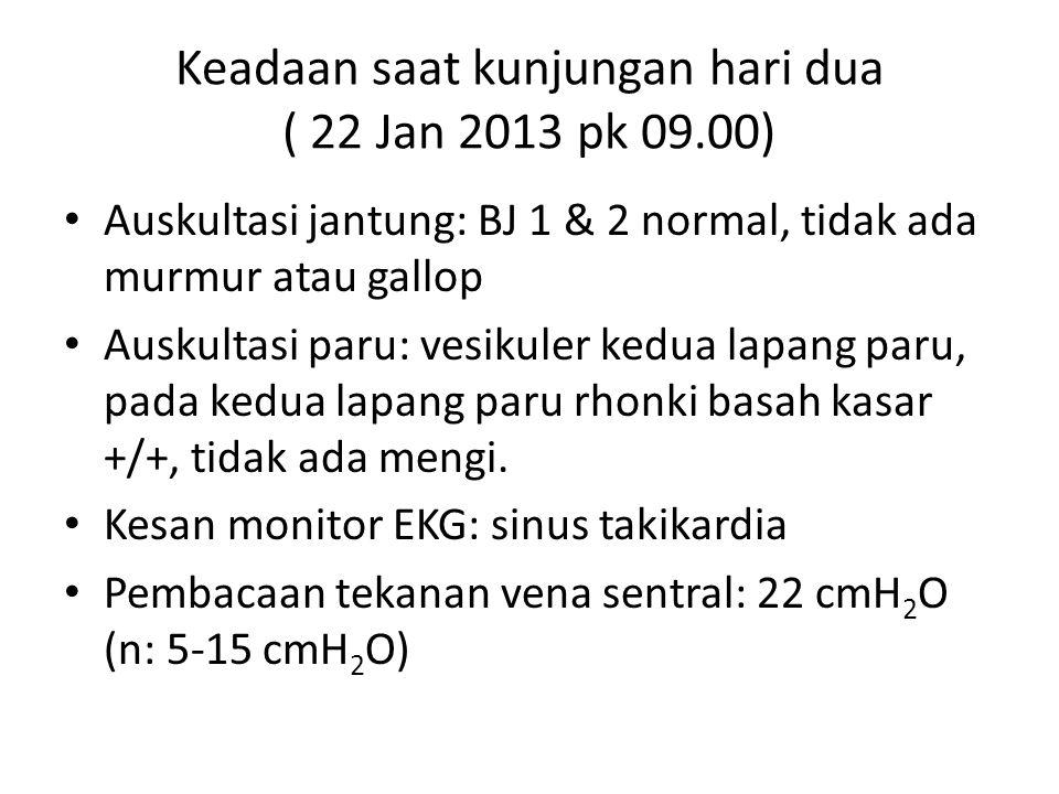 Keadaan saat kunjungan hari dua ( 22 Jan 2013 pk 09.00)