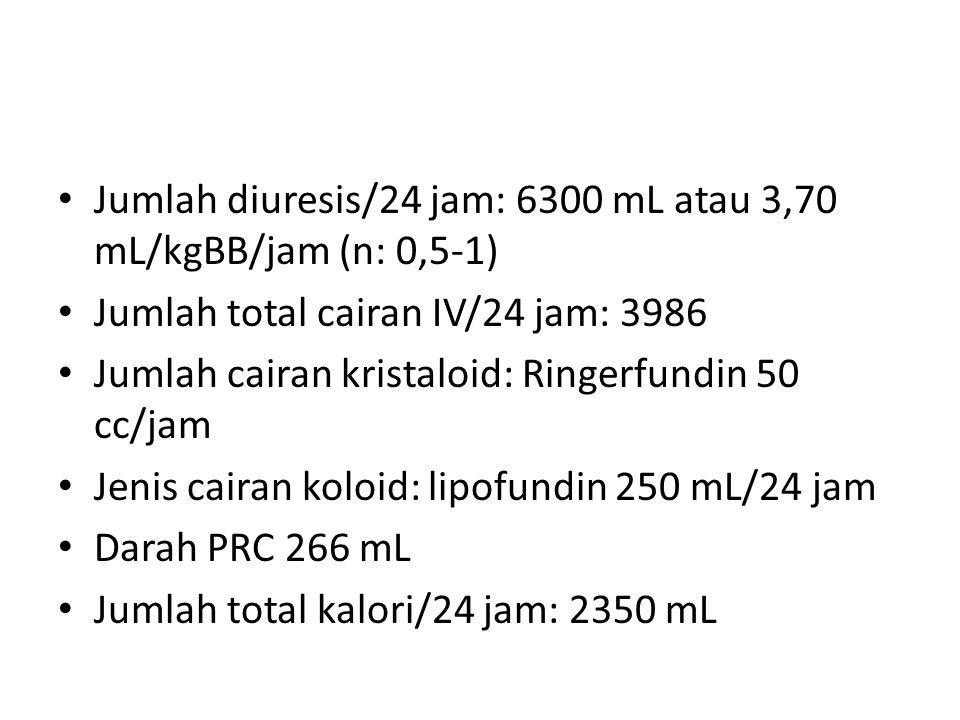 Jumlah diuresis/24 jam: 6300 mL atau 3,70 mL/kgBB/jam (n: 0,5-1)