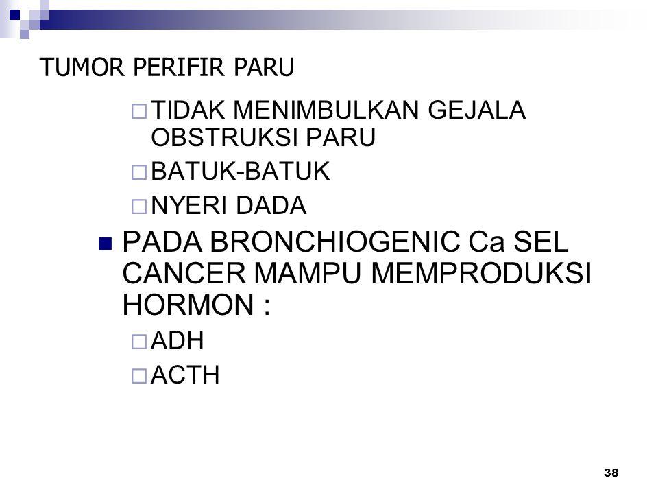 PADA BRONCHIOGENIC Ca SEL CANCER MAMPU MEMPRODUKSI HORMON :