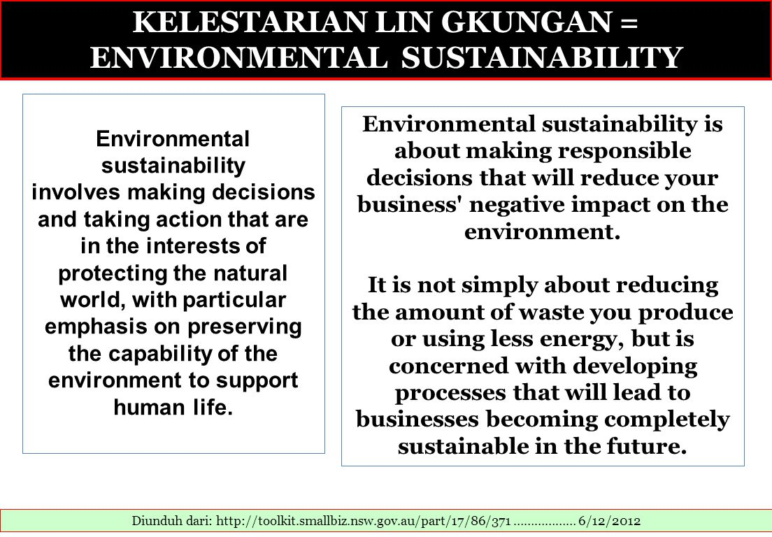 KELESTARIAN LIN GKUNGAN = ENVIRONMENTAL SUSTAINABILITY
