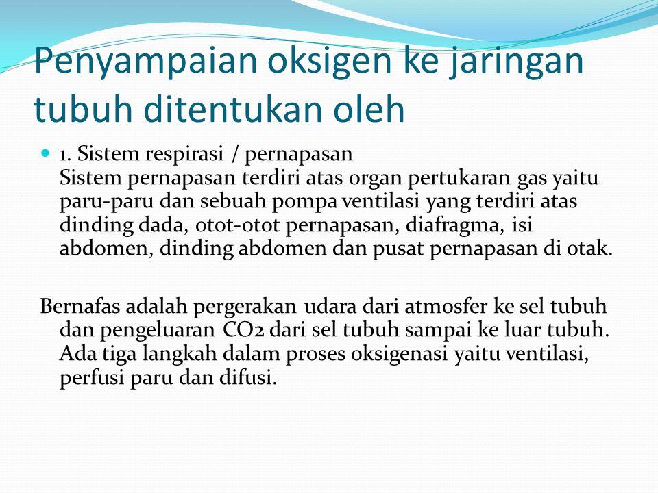 Penyampaian oksigen ke jaringan tubuh ditentukan oleh