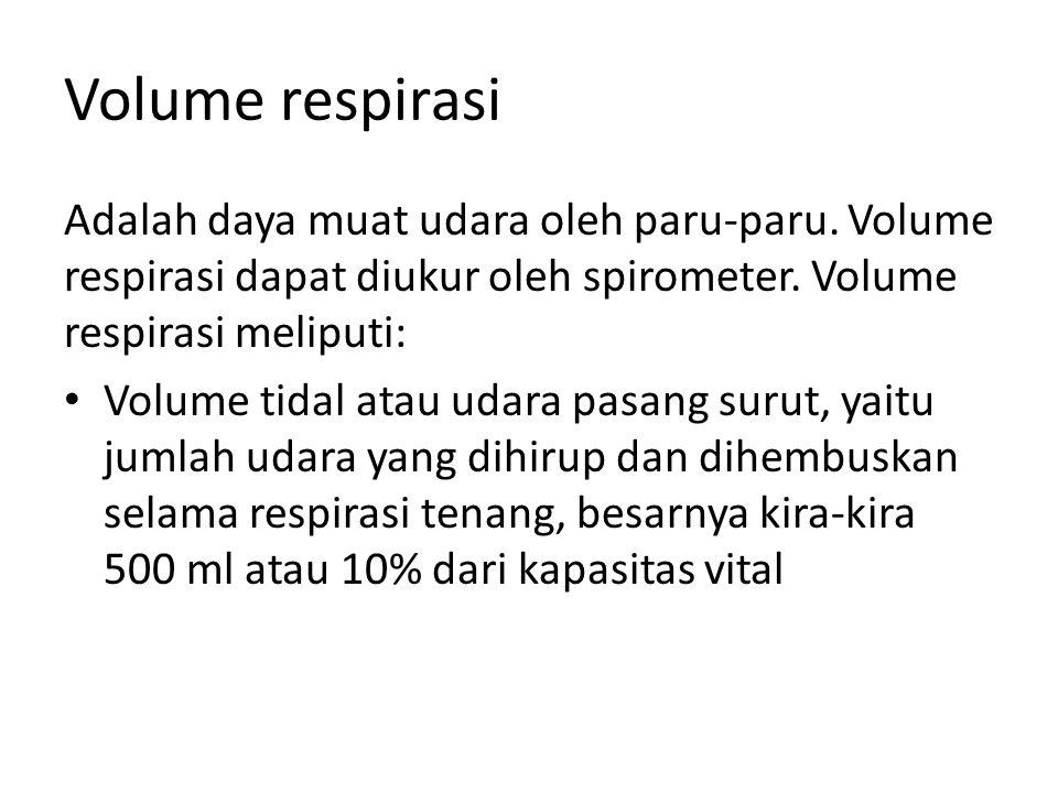Volume respirasi Adalah daya muat udara oleh paru-paru. Volume respirasi dapat diukur oleh spirometer. Volume respirasi meliputi: